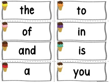Ice Cream Theme Word Wall and 100 Fry Words Plus...