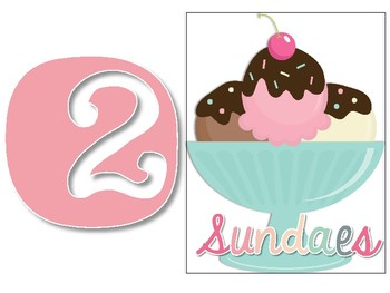 Ice Cream Themed Daily 5 Reading and Math Workshop Headers  Station Headers