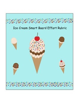 Ice Cream Themed Drag and Drop Smart Board Effort Rubric