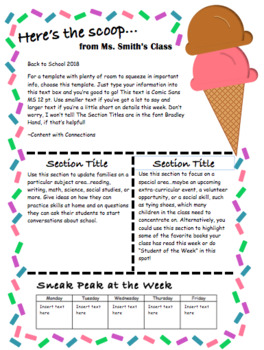 Ice Cream Themed Newsletter: 3 templates, all EDITABLE! Great for summer school!