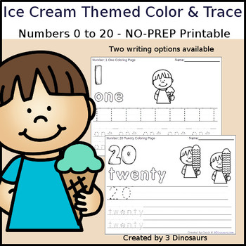Ice Cream Themed Number Color and Trace