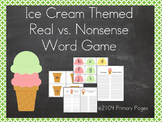 Ice Cream Themed CVC Real vs. Nonsense Word Game (Word Families)