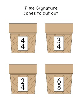 Ice Cream Time Signature Game - 2/4, 3/4, 4/4, 6/8, Bulletin Board, Centers