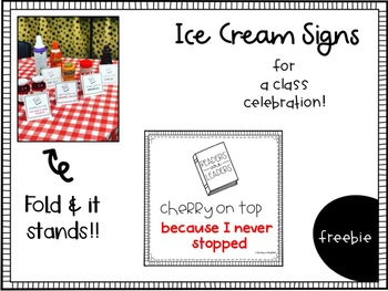 Ice Cream Topping Signs