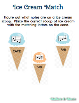 Ice Cream Treble Clef Note Match
