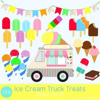 Ice Cream Truck Summer Treats Digital Clipart, clip art