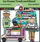 Ice Cream Truck and Stand clip art. Color and B&W