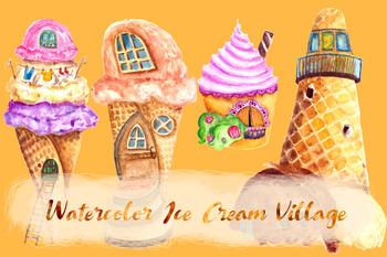 Ice Cream Village Clip Art Set