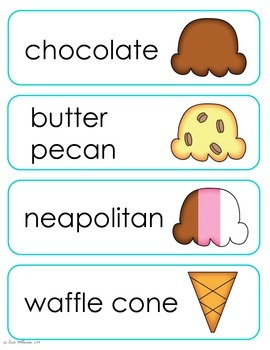 Ice Cream Vocabulary Cards and Spelling Practice