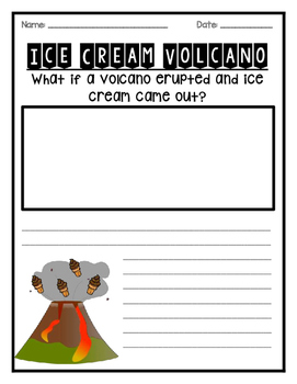 Ice Cream Volcano Writing Prompt- Multiple Levels and Formats *FREEBIE*