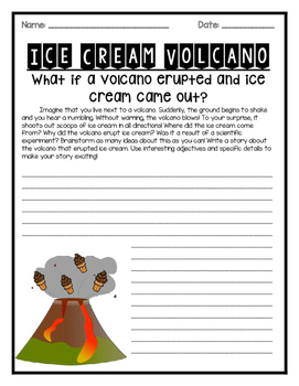 Ice Cream Volcano Writing Prompt with Multiple Levels and Formats FREEBIE