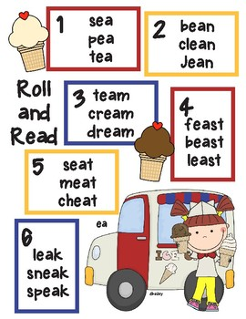 Ice Cream Vowel Team Long e -ea  Roll and Read