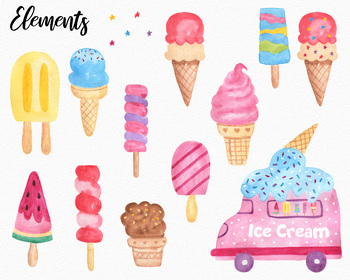 Ice Cream Watercolor Set, PNG Transparent Background Pack