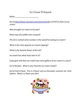 Ice Cream Webquest – Explore the World's Best Dessert