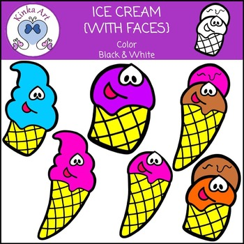 Ice Cream { With Faces } Clip Art