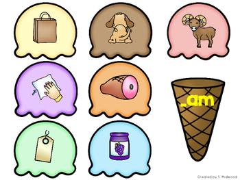 Ice Cream Word Families Center