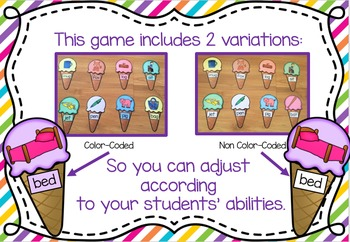 Ice-Cream Word Match Game - Literacy CVC