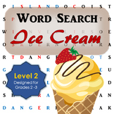 Ice Cream Word Search Activity for First and Second Grade