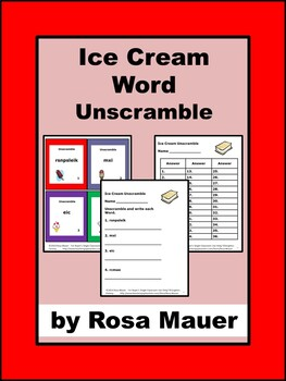 Ice Cream Unscramble Task Cards