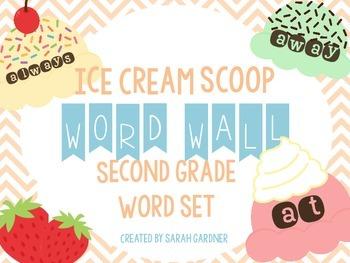 Ice Cream Scoop Word Wall Set {Second Grade}