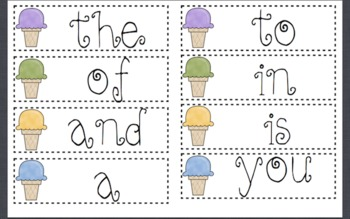 Ice Cream Word Wall Unit-1st 100 Fry Words