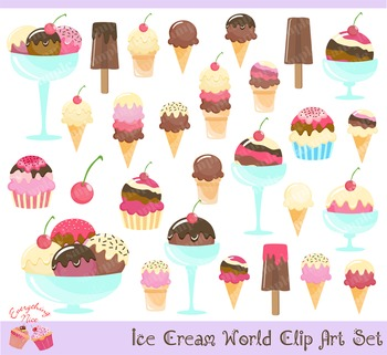 Ice Cream World Clipart Set