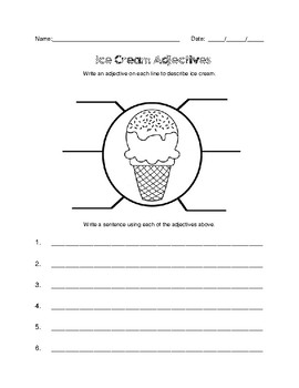 Ice Cream Writing Activities