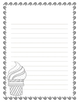 Ice Cream Writing Paper - 3 Styles - Black and White