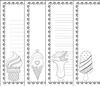 Ice Cream Writing Paper - 3 Styles - Black and White