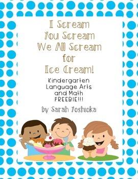 Ice Cream, You Scream Kindergarten FREEBIE!!