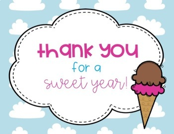 Ice Cream and Popsicle End of the School Year Thank you Postcards to Students