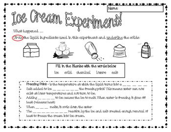 Ice Cream in a Bag Science Lab Worksheets