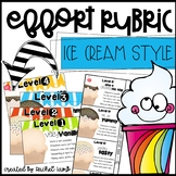 Ice Cream themed Classwork and Effort Rubric display Editable