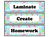 Ice Creams 3 Drawer Sterilite Labels, Classroom Decor Includes 48 labels