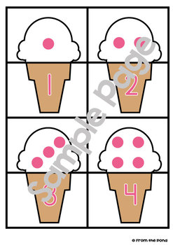 Ice Cream Math Center Game for Early Number