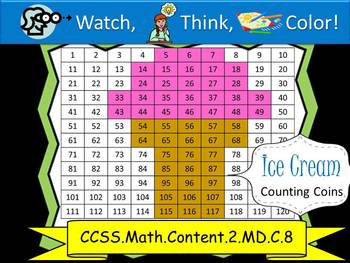 Ice Cream Counting Coins Practice - Watch, Think, Color!
