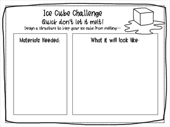 Ice Cube Challenge STEM