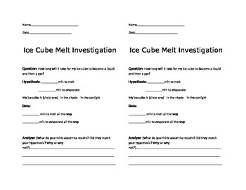 Ice Cube Melt Investigation- Matter State Change