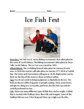 Ice Fest - South Dakota Ice Fishing Festival lesson review article questions