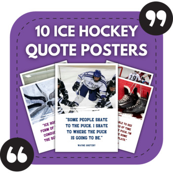Ice Hockey Posters - 10 Quotes About Ice Hockey for Sports Bulletin Boards