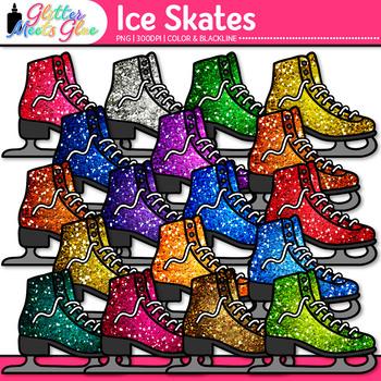 Ice Skates Clip Art | Sports Equipment for Winter Activities & Gym Teachers