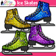 Ice Skates Clip Art {Sports Equipment for Winter Activitie