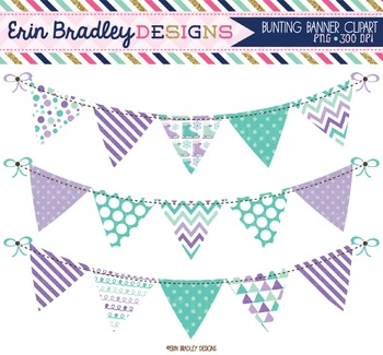 Ice Skating Bunting Clipart - Purple
