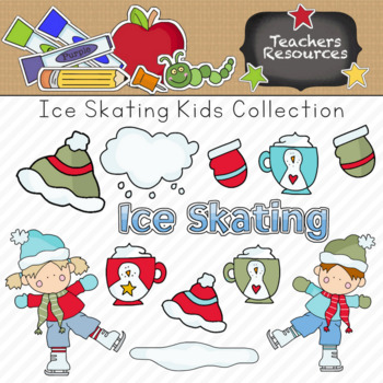 Ice Skating Kids Clipart Collection || Commercial Use Allowed