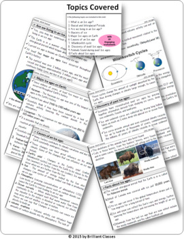Ice Ages: History - Different Ice ages  - Causes - Facts (Unit With Worksheets)