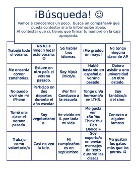 Ice breaker for first week of class in Spanish--partner search bingo