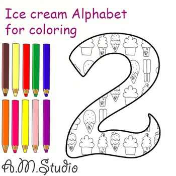 Ice cream Alphabet and Numbers for coloring.