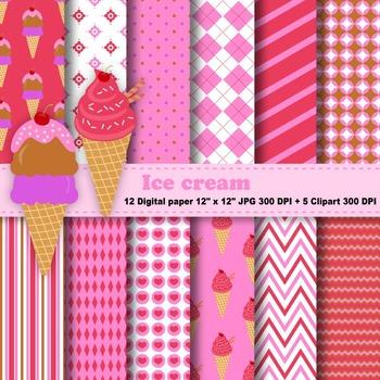 Ice cream Digital Paper + Clipart