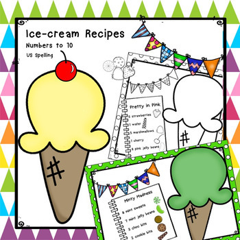 Ice-cream Math Recipes Numbers to 10 US