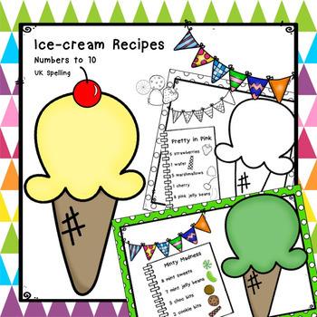 Ice-cream Maths Recipes Numbers to 10 AUS UK